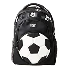 Smiggle Goal Kids Backpack for Boys & Girls with Laptop Compartment and Dual Drink Bottle Sleeves | Football Print