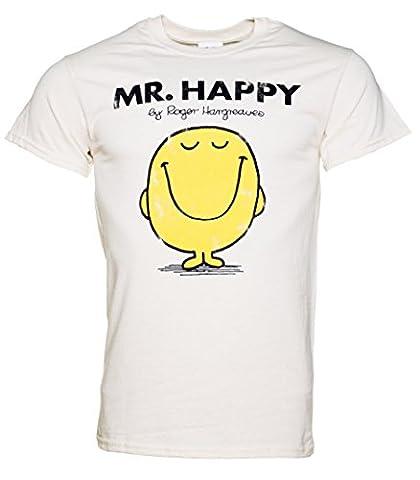 Mens Off White Mr Happy Mr Men Heavyweight T
