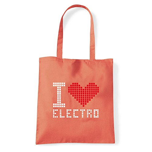 Art T-shirt, Borsa Shoulder I Love Electro, Shopper, Mare Corallo