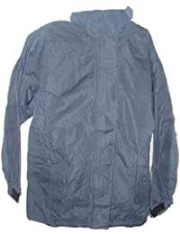 Ladies Dark Blue Lined Waterproof Jacket with Hood Sizes 12-18 Available