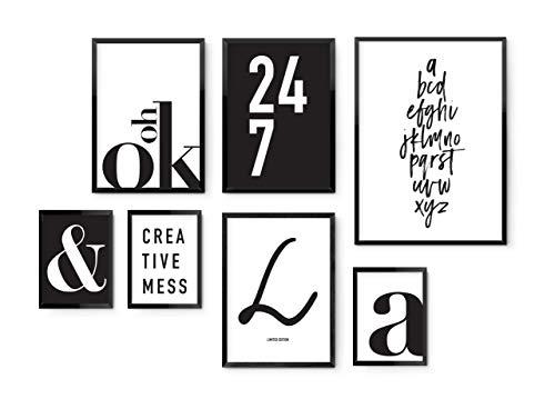 Typografie 7er Poster Set versch.Größen: 13x18, A4, A3. MARELLE Bilder schwarz weiß Set9999