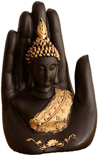 Global Grabbers Golden Handcrafted Palm Buddha Polyresin Showpiece (12.5 cm x 7.5 cm x 17.5 cm, Black)