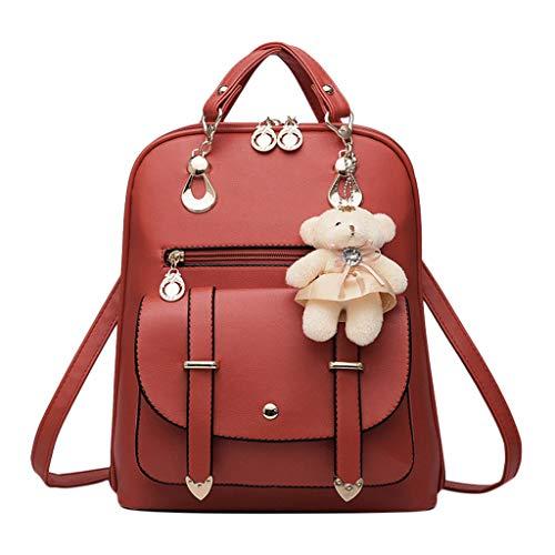 aiyvi Woman Rucksack Elegant Edel Umhängetasche Mode Casual Handtasche Crossbody Bag Einfarbig (Wein, 26 * 13 * 31 cm)