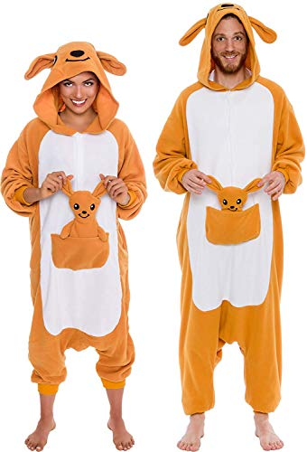 Memoryee Unisex Erwachsene Pyjamas - Plüsch Kostüm Party Cosplay Tier Känguru Kostüm Idee/Orange/XL