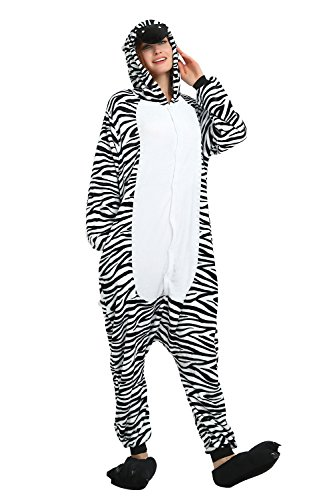Kenmont Jumpsuit Tier Cartoon Einhorn Pyjama Overall Kostüm Sleepsuit Cosplay Animal Sleepwear für Kinder/Erwachsene (Small, Zebra) (Zebra Für Kinder Kostüm)