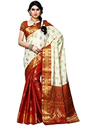 Mimosa Women's Silk Saree With Blouse Piece (225-Pt-Hwt-Mrn,Off White,Free Size)