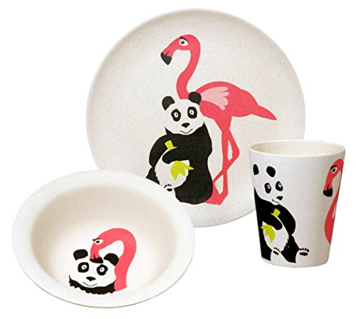 zuperzozial Kinder - BIO Hungry Flamingo Set Teller+Schüssel+Becher
