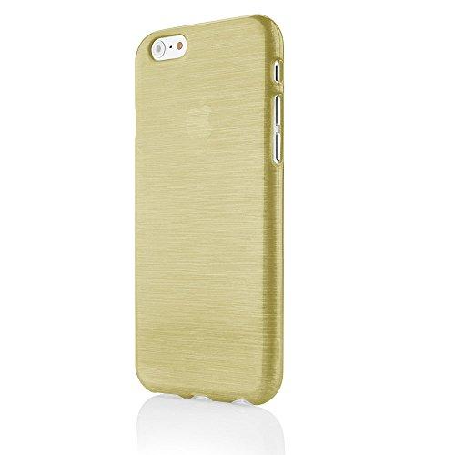 EGO® Brushed Silikon Case für iPhone 6 Plus 6S Plus 5,5'', Pink Transparent Handy Tasche Metallic Effect Cover Schutz Hülle Gold Transparent