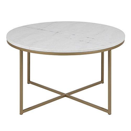 DES Lounge Zone Runder Couchtisch SELMA Marmor Optik Weiß, Tischplatte  Sicherheitsglas Foliert, Sofatisch