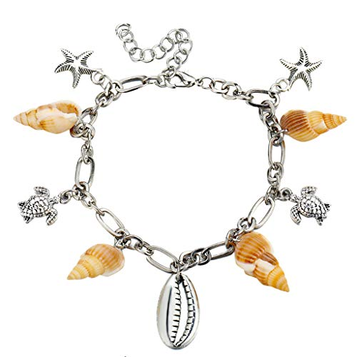 armband bobo4818 Beach Star Fußkettchen Silber Fußkettchen mit Zinnlegierung Fußschmuck für Frauen und Mädchen Böhmen Fußkettchen (Country Outfits Für Frauen)