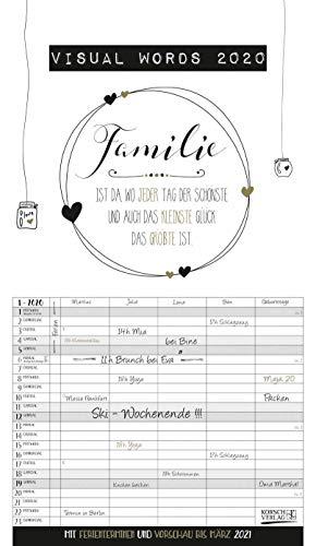 Visual Words Familienplaner 2020: Familienplaner mit 5 breiten Spalten. Typo-Art Familienkalender mit Ferienterminen, Zusatzspalte, Vorschau und vielem mehr.
