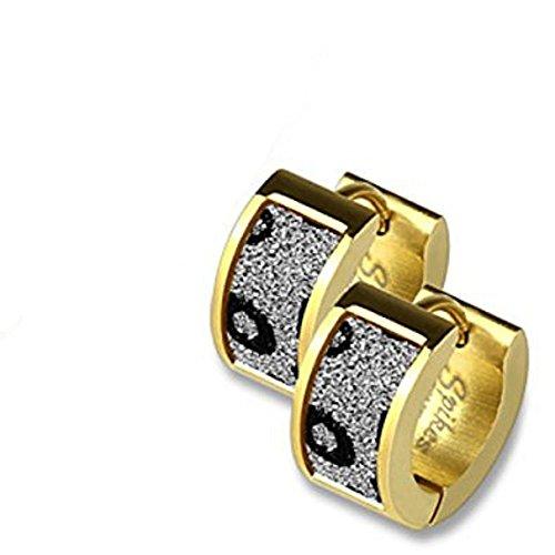 Paar Gold vergoldet klar und Schwarz Leopard Animal Print Sand Sparkle Edelstahl Scharnier Snap Close Huggy Ohrringe Creolen 0,8mm Stärke (Klassische Print Stärken)