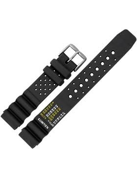 Uhrenarmband 22mm Kunststoff schwarz - inkl. Federstege & Werkzeug - Uhren Ersatz Armband mit Taucher Tabelle...