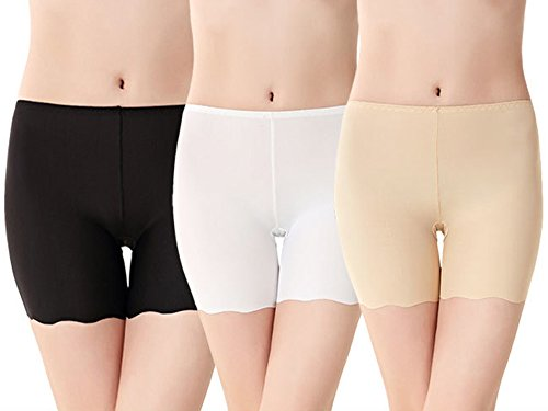 Imixcity Lot de 3 Femme Shorts de sécurité en Modal Soie Glacée Invisible Slip Boxer Sous-Vêtements Pantalons - 3 Couleur - EU 34-38 (Tag XL)