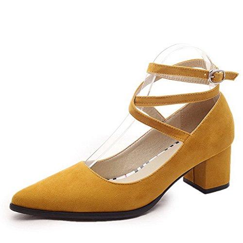 AllhqFashion Femme Couleur Unie Suédé à Talon Correct Pointu Boucle Chaussures Légeres Jaune