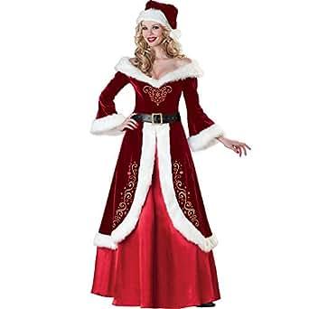 CHIYEEE Donna Natale Costumi Partito Vestito Le Signore Manica Lunga Swing di Regina Vestito Abiti di Natalizi Partito Abito Abiti Cappelli Cinture