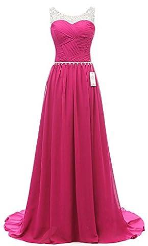 Eudolah Damen Abendkleider Elegant Ballkleider lang Maxi Bunte Kleider Pink Gr.6