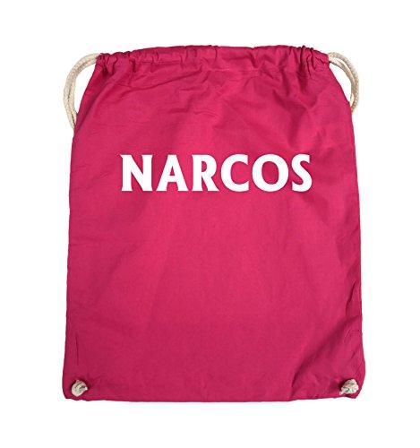 Comedy Bags - NARCOS - LOGO - Turnbeutel - 37x46cm - Farbe: Schwarz / Silber Pink / Weiss