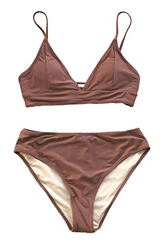 CUPSHE Bequemer Strand Lace Up Bikini, Braun, S