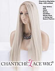 Chantiche Natural Looking Dark Roots Long Ombre Blonde Wig Straight Hair  Synthetic Lace Front Wigs UK 21ff26d9152e