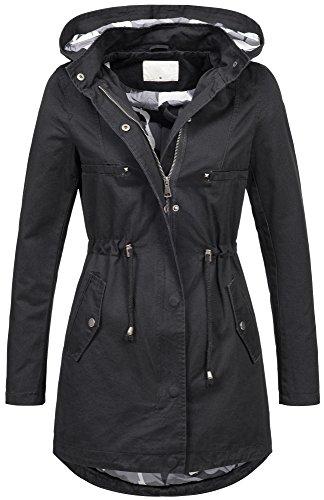 Golden Brands Selection Leichte Damen Jacke Übergangsjacke mit Kapuze Mantel Parka Baumwolle S-XL B495 (M, Navy)