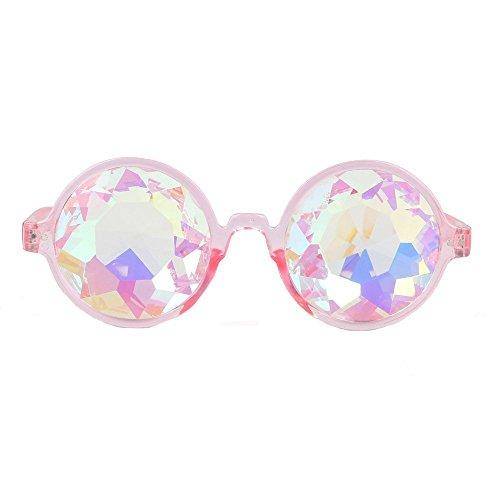 Kostüm Kaleidoskop - HyPee Kaleidoskop Gläser, Kaleidoskop Brillen, Kaleidoskop Gläser Rave Festival Party EDM Sonnenbrille Cosplay Goggles Kostüm Foto Requisiten Vintage Goggles (Rosa)