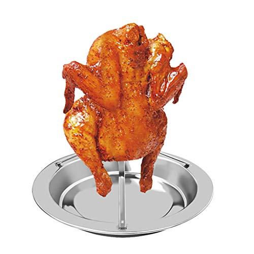 Hähnchenbräter, LeeMon Roast Chicken Holder Stainless Steel Upright Roaster Rack BBQ Stand Grilled Pan Huhn Braten Rack Edelstahl Antihaft Vertikal Huhn Halter (As Show) Gans Stand