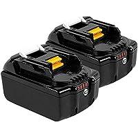 Boetpcr 2x BL1860B 18V 6.0 Ah batería de repuesto de litio 2 paquetes para Makita BL1860B, BL1860, BL1850B, BL1850, BL1840B, BL1840, BL1830B, BL1830, BL1820, BL1815, BL1825, BL1835, BL1845,194205-3,194309-1,194204- 5,196399-0,196673-6, LXT-400 con indicador