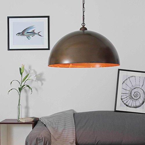 Hängeleuchte XXL antik braun Rost Optik Hängelampe Durchmesser 50 cm 1x E27 bis 100W Pendelleuchte Esstisch Wohnzimmer Edison Loft Lampe