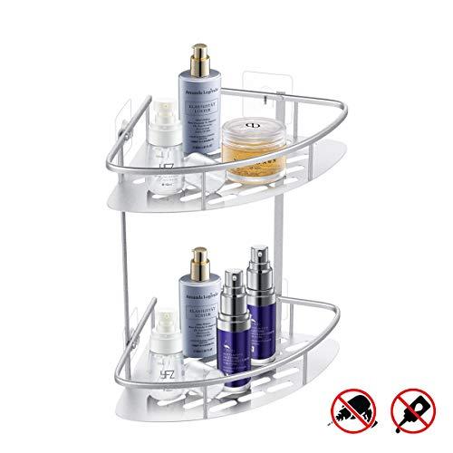 Charmingwater Duschablage Eckregal 2 Etagen Duschkorb Eckablage Duschregal Dusche Organizer shampoo halter, ohne Bohren Selbstklebende, Aluminium