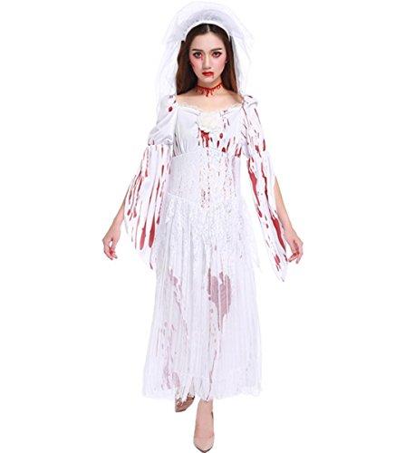DuuoZy Frauen Halloween Grausigkeit Gespenstische Braut Blutiges Weiß Kleid Set Cosplay Vampir Zombie Kostüm, White, One Size