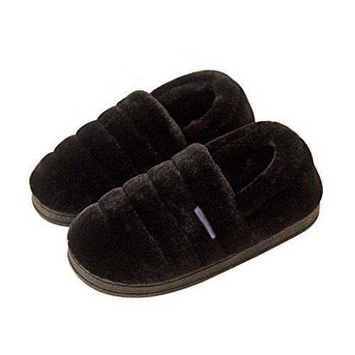 Pantofole Casalinghe di Colore Solido Invernale con Tutti i Pattini Antiscivolo Indoor Caldi Nero