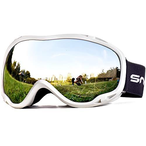 SnowledgeSkibrilleDamen& Herren SkiGogglesUV400 Schutz Doppelscheibe Anti-BeschlagHelmkompatiblefür Brillenträger(W-Silver)