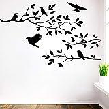 GJQFJBS Adesivo murale in vinile con albero rimovibile Uccello Adesivo murale per camera da letto per bambini Grigio 43x59cm