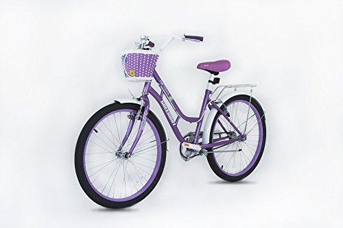 GW bikes Princess - Bicicleta de 20 pulgadas con cesta, color morado