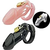 3 Color Plastic Male Chastity Cage Small Cock Cage Chastity Device Sex Toys with 5 Penis Rings for Men,White,CB6000