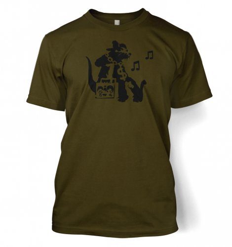 Ghetto Ratte Banksy Männer T-Shirt Olivfarbig