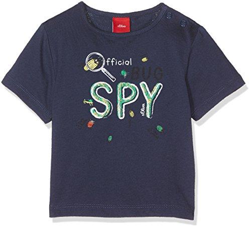 s.Oliver Baby - Jungen T-Shirt KURZARM 65.705.32.4786, Einfarbig, Gr. 62, Blau (Dark Blue 5816)