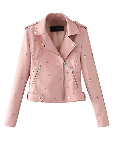 Mujer Vintage Remache Chaqueta De Imitación de Cuero Sintético Abrigo Cazadora Biker Pink L