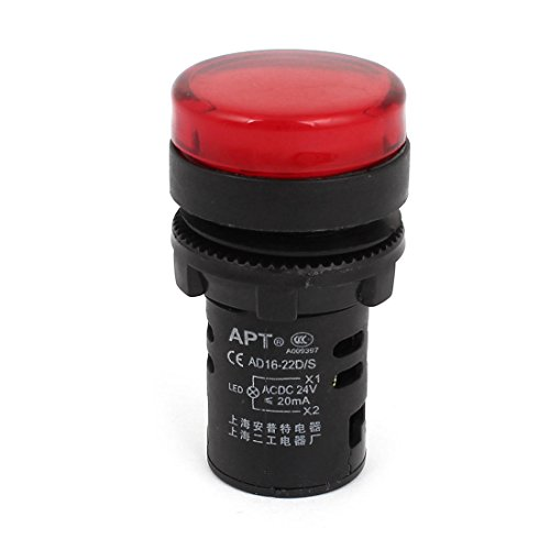 AC DC 24V 20mA Rot LED Indikator Pilot Signal Licht Lampe Glühbirne AD16-22D/S de