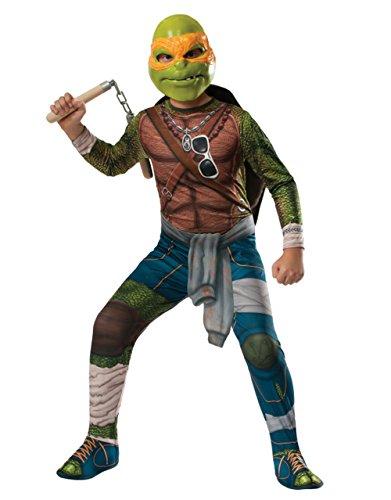 Teenage Mutant Ninja Turtle Kostüm, Kinder MICHELANGELO Film-Outfit, groß, Alter 8–10Jahre, Höhe 4'20,3cm–5' (Turtles Ninja Film Mutant Teenage Kostüme)