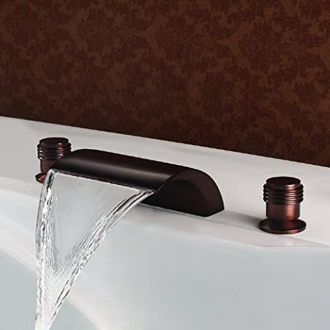 brass Oil-rubbed Bronze deck mount three Hole Waterfall wash basin
