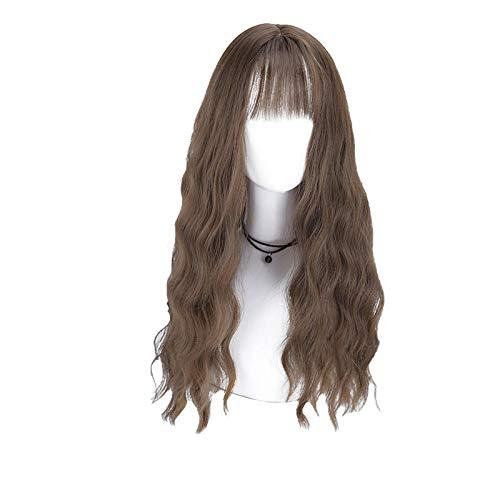 PerüCke- Perücke weiblich, langes lockiges Haar große Welle Flauschigen natürlichen Langen Geraden Haarnetz rot niedlich Luft Pony Gradient Frisur Set (Farbe : Chestnut)