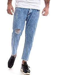 c3a3bd1b968e84 Giosal Pantalone Jeans Uomo Denim Rotture Cinque Tasche Cavallo Basso