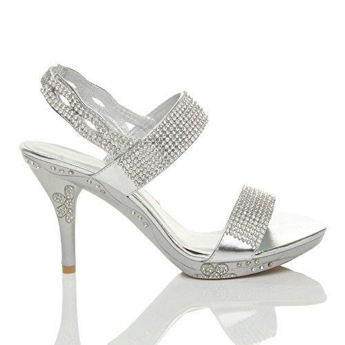 Noite Sandálias Strass Alto Senhoras Slingback Diamante Prata Casamento Salto Tamanho qwBXnTcUpf