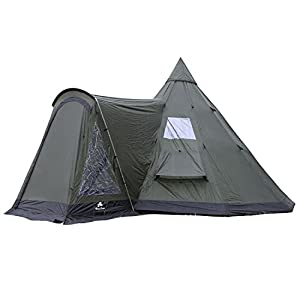 campfeuer - tipi teepee - tent, with porch, olive-green/black