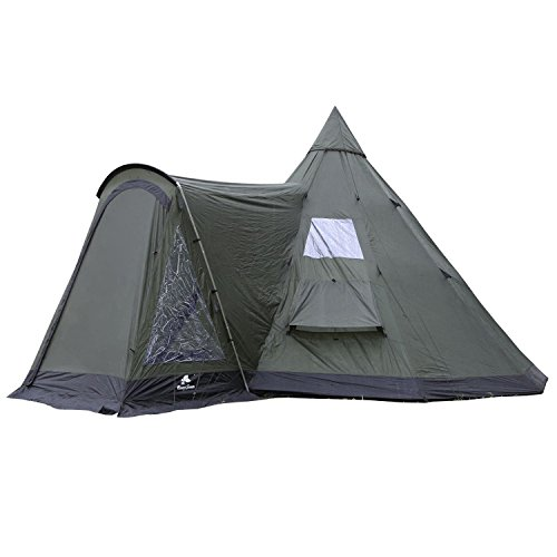 41exCn5oREL. SS500  - CampFeuer - Tipi Teepee - Tent, with Porch, Olive-Green/Black