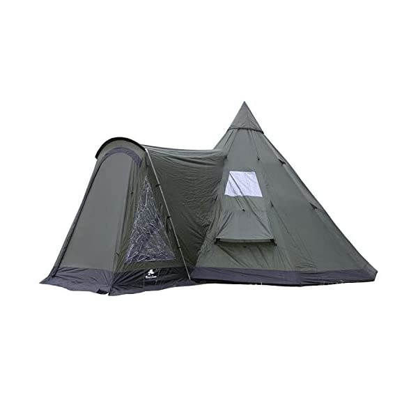 CampFeuer - Tipi Teepee - Tent, with Porch, Olive-Green/Black 1