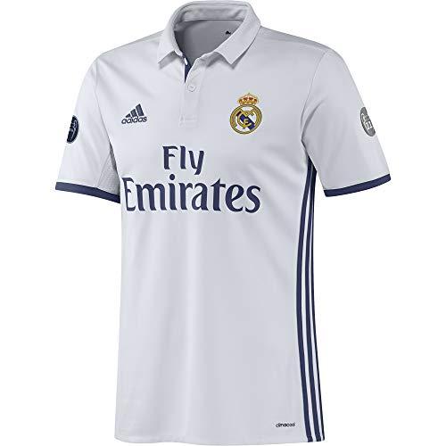 adidas H JSY UCL Camiseta 1ª Equipación del Real Madrid CF 2015/16, Hombre, Blanco/Morado, XL