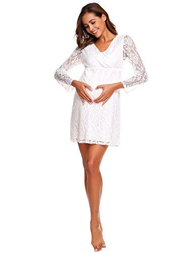 Parabler Damen Herbst Maternity Umstandskleid Übergröße Langarm Spitzenkleid mit V-Ausschnitt Schwangerschaft Kleid A-Linie